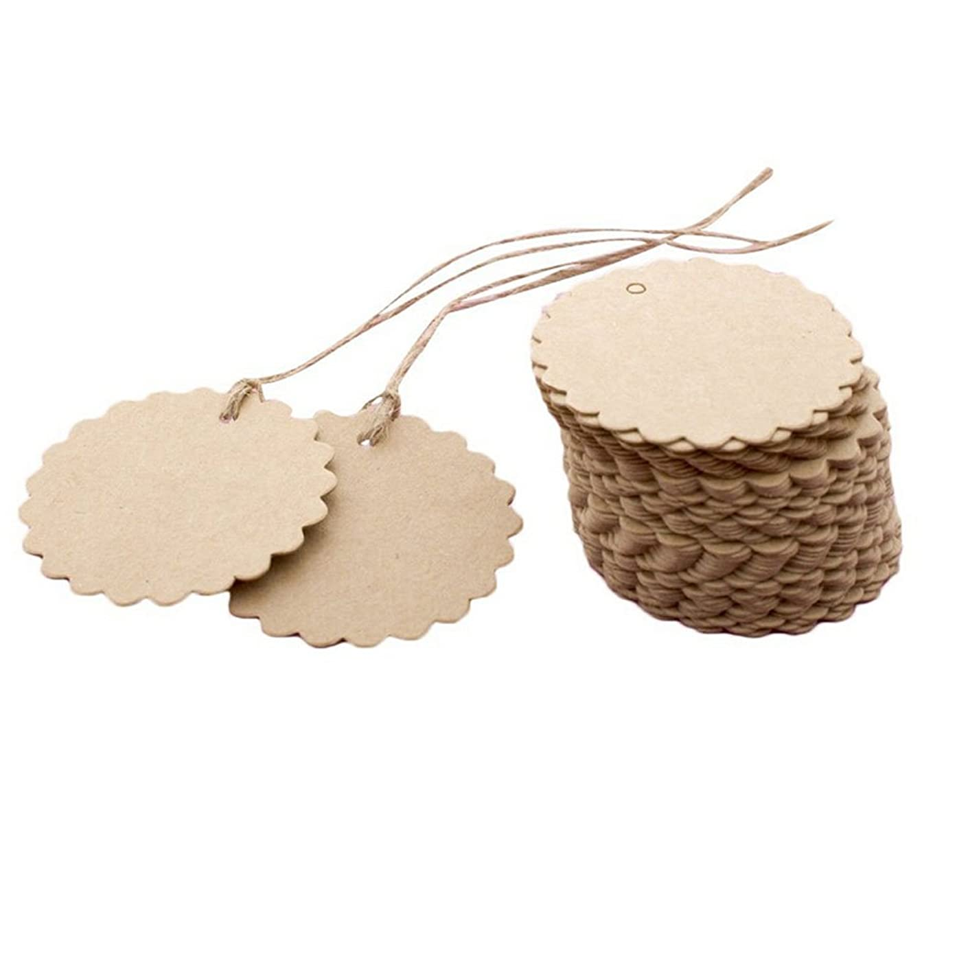 TOPWEL Tags 50pcs Brown Kraft Paper Hang Tags Labels with Free Cut Strings for Gifts, Crafts & Price Tags for Wine, Decor, Weddings (Flower)