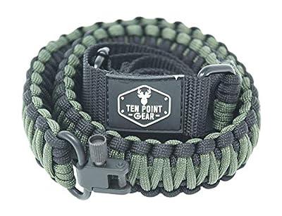 Ten Point Gear Gun Sling Paracord 550 Adjustable w/Swivels (Multiple Color Options) (Black & OD - Olive Drab Green)