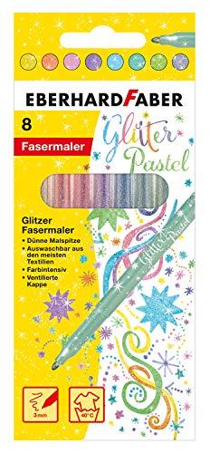 Eberhard Faber 551009 Glitzer Fasermaler in Pastell Farben im Kartonetui, 8er, bunt