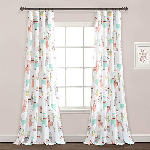 "Lush Decor Make A Wish Southwest Llama Cactus White & Blush Window Curtain Panel Pair, 52"" W x 84"" L, 84 inches, White"