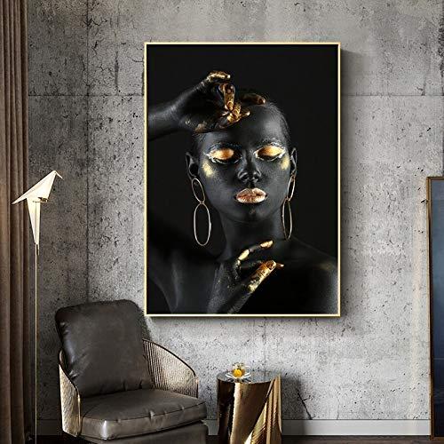wZUN Mujer Africana Desnuda Negra con Dedos y Labios Dorados sobre Lienzo decoración de Pared Mujer Imagen de Arte de Pared para decoración del hogar 60x90 Sin Marco
