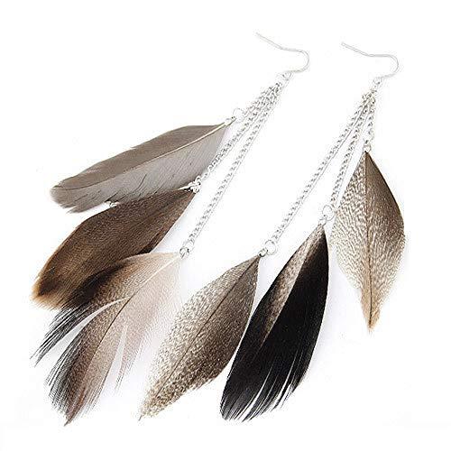 STRASS & PAILLETTES Boucles d'oreilles Plumes mouchetée tachetée et Chaine argentée. BO Hippie Chic Boheme