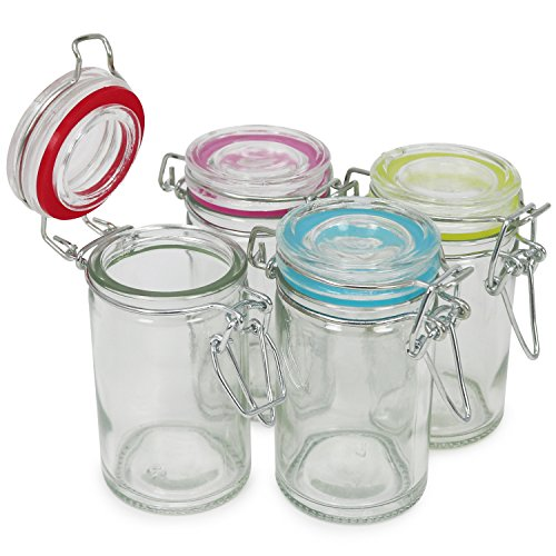 COM-FOUR® tarro de albañil 4x con cierre de clip, vaso de alambre con anillo de goma en azul, amarillo, rosa y rojo, 60 ml (04 piezas - 60 ml)