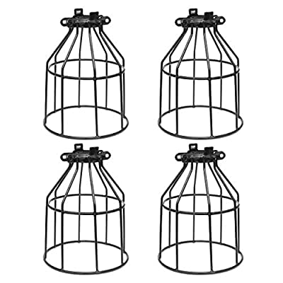 YI LIGHTING - Industrial Vintage Style Metal Lamp Guard Cage for Pendant String Lights and Vintage Lamp Holders (4-Pack)
