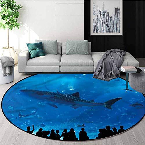 Buy Bargain RUGSMAT Shark Carpet Gray Round Area Rug,Aquarium Park and People Non-Slip No-Shedding K...