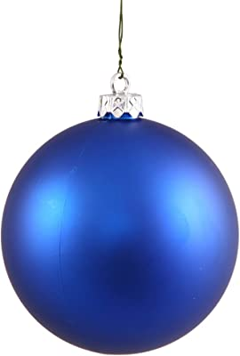 """Vickerman Matte Finish Seamless Shatterproof Christmas Ball Ornament, UV Resistant with Drilled Cap, 4 per Bag, 4.75"""", Blue"""