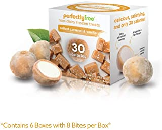 PERFECTLY FREE Frozen Bites - Vegan Friendly Frozen Treats, Allergy-Free, Non-Dairy, Non-GMO, Like Mochi but Healthier (Salted Caramel Vanilla) (6 Pack)