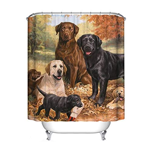 JMAHM Cortina de Ducha de poliéster Impermeable y Resistente al Moho, Colorful-Four Dogs, 71x71