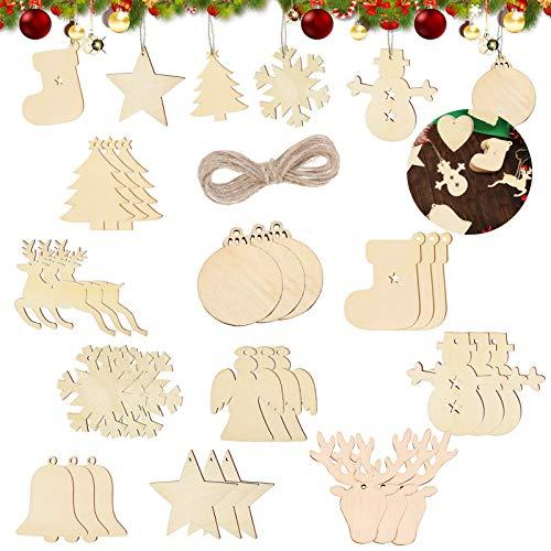 Sunshine smile 100 Stück Kleine Anhänger Holz Weihnachten, Anhänger Dekoration Holz, Weihnachtsbaum Deko Holz, Holz Weihnachtsdeko Anhänger, Ornamenten für Weihnachtsbaum, Christbaumschmuck aus Holz