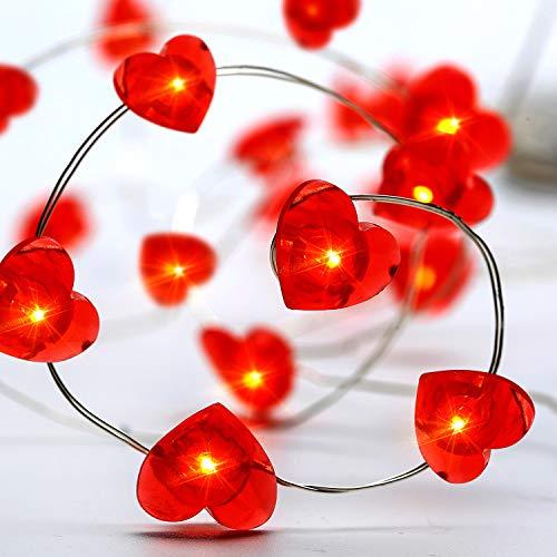 10ft 30 LED Herz Led Lichterketten, Batteriebetriebene Lichter mit 8 Flimmer-Modi, Fernbedienung und Timer für Hochzeit, Weihnachten, Geburtstagsfeiern, DIY Haus Mantel Dekoration (Herzform)