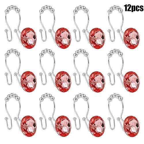 Tings 12 stuks roestvrijstalen decoratieve douchegordijnhaken Acryl helder douchegordijnringen Tocht met dubbele haken, rood