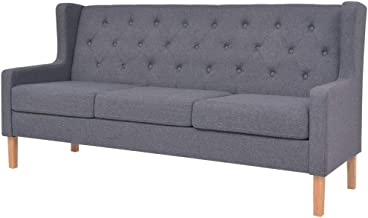 vidaXL 3-Seater Sofa Fabric Grey Couch Lounge Seat Home Living Room Furniture