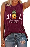 Aloha Beaches Shirts Tank Top for Women Casual Summer Pineapple Print Tanks Loose Fit Sleevelesss Vacation Tee Purple (Medium)
