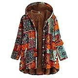 iHENGH Plus Size Women Winter Warm Vintage Floral Printed Thicker Button Coat Outwear(Orange-2, S)
