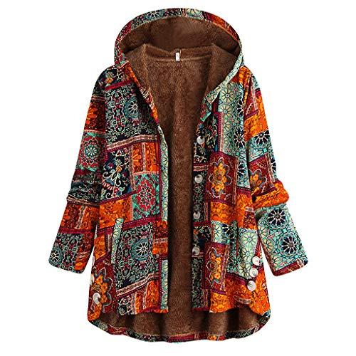 iHENGH Damen Winter Warm Dicker Outwear Parka Mantel Jacke Blumendruck mit Kapuze Taschen Vintage Oversize Coats