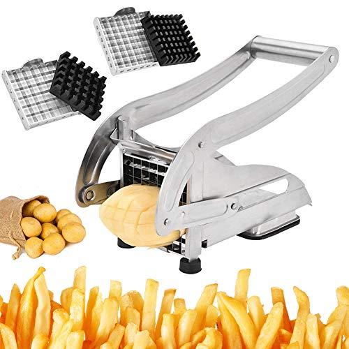 TWSOUL Pommes Frites Schneider Pommesschneider Edelstahl Kartoffelschneider Gemüseschneider mit 2 Messereinsätzen und Stempel Edelstahl-Schneideinsätze