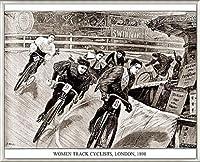 ポスター アーティスト不明 Women Track Cyclists 1898 額装品 アルミ製ベーシックフレーム(ライトブロンズ)