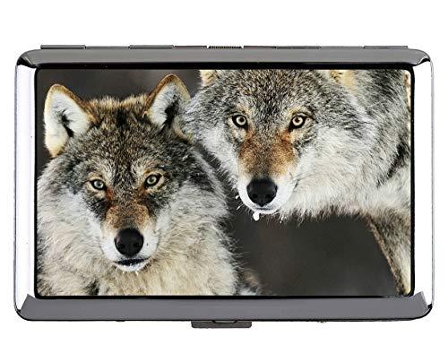 Zigarettenetui für 14 Zigaretten, Animal Wolf Uhr Kartenhalter aus Edelstahl