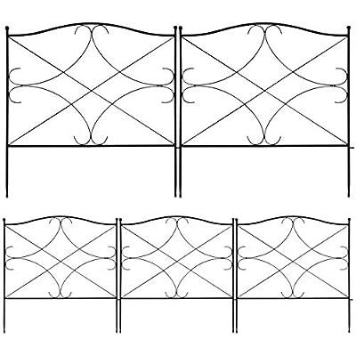 S AFSTAR Decorative Garden Fence, Rustproof Landscape Fencing, Flower Bed Animal Barrier, Folding Wire Border, 5 Coated Metal Panel