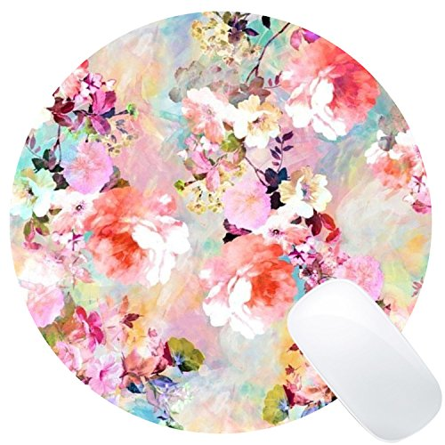Wknoon Round Gaming Mouse Pad Custom Design, Romantic Pink Flowers Vintage Watercolor Floral Pattern Circular Mouse Pads, 8' Non-Slip Rubber Mousepad Mat