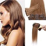 Silk-co 40cm Extension Clip Capelli Veri 8 Pezzi Full Head Hair Extension 65g Capelli Umani Naturali Clip - 30 Castano Ramato Chiaro