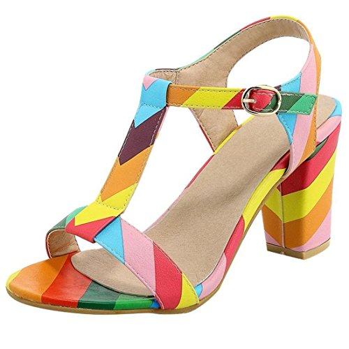 Artfaerie Damen T-Strap High Heels Sandalen mit Schnalle und Blockabsatz Slingback Riemchen Pumps Sommer Offen Schuhe