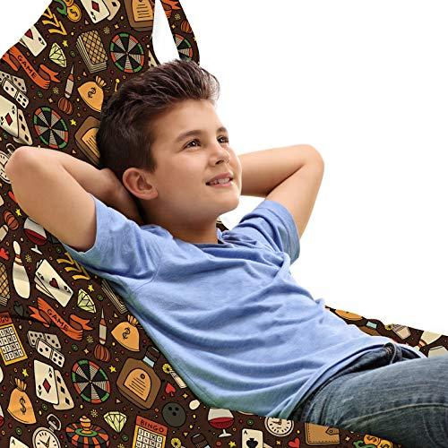 ABAKUHAUS Poker Unicorn Toy Bag Lounger Stuhl, Casino Verwandte Objekte Bild, Hochleistungskuscheltieraufbewahrung mit Griff, Dark Rosewood Multicolor