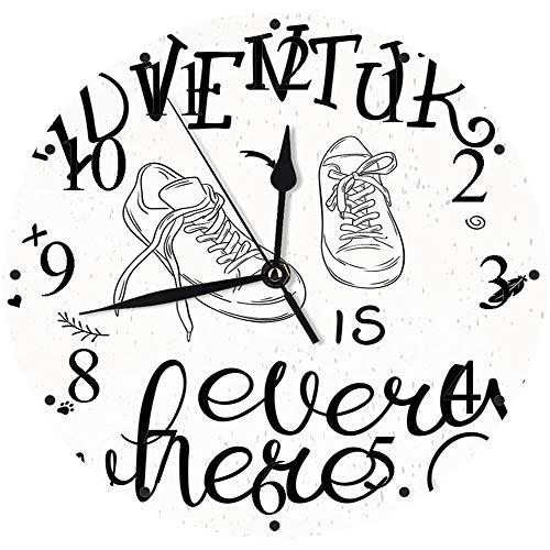 Yaoni Silencioso Wall Clock Decoración de hogar de Reloj de Redondo,Aventura, diseño Motivacional, Tema Juvenil con un par de Zapatillas, Caminar, Caminar, Pas,para Hogar, Sala de Estar, el Aula