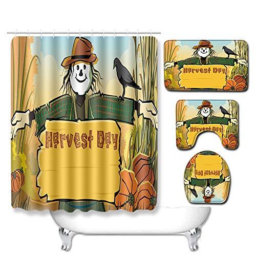WEIFENG Europäische und amerikanische Außenhandel Halloween WC-Set vierteilige Badezimmermatte Wohnzimmer Schlafzimmer Teppich grenzüberschreitend 294 50 * 80 cm + 180 * 180 cm