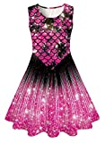 Funnycokid Mermaid Tail Dresses for Girls Sleeveless Swing Dresses for Daddy Daughter Dance Birthday Party Size 8-9