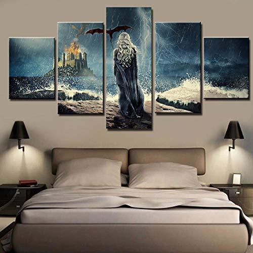 Fonice Póster de Arte de Pared Cuadro Modular Lienzo Pintura Marco 5 Paneles Juego de Tronos Programa de televisión Sala de Estar Moderna Arte Decorativo