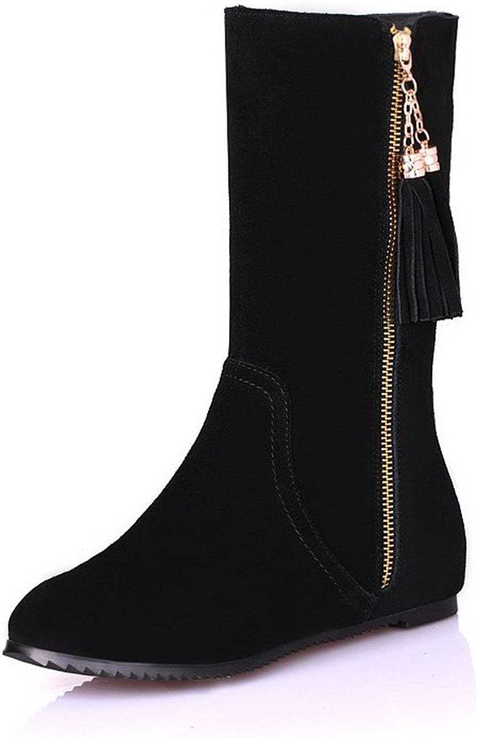 WeiPoot Women's Metalornament Closed-Toe Boots with slide fastener