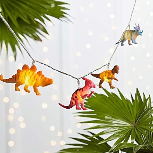 Lights4fun - Guirnalda de Luces con 12 Dinosaurios y Luces LED Blanco Cálido para Habitaciones de Niños