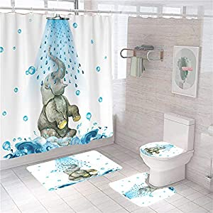 Showering Elephant Shower Curtain Set with Rugs Toilet Lid Cover and Bath Mat Waterproof Bathroom Sets with Fabric Shower Curtain Durable Bath Curtain with 12 Hooks Elephant Bathroom Set