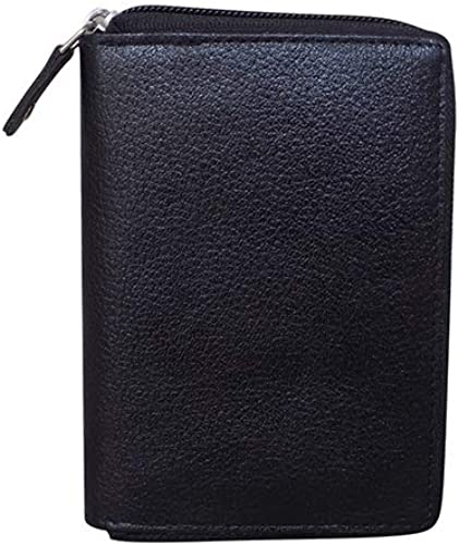 Style Shoes Genuine Leather Zipper Credit Card Holder Wallet for Men Women Black 3292IA