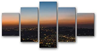GLITZFAS PRINTS 5 Panel Wall Art Painting - Night City City Lights Skyline Amman Jordan - Canvas Stretched with Wooden Frame for Home Decor (12