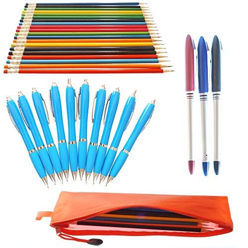Schreibwaren Set von Natuiahan. 20 Leicht zu spitzende Stifte mit Gummi, 10 Stiften, 3 Rollerball-Stiften (Schwarze, Blaue, Rote Tinte) und 1 Federmäppchen