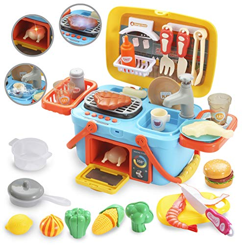 JOYIN Pretend Kitchen & Picnic Cutting Food Toy Playset, Portable Carry Around Picnic Basket with Sink, Faucet, Grill Area, Oven, Music and Lights Color Changing Toys for Kids