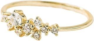 Balakie Crystal Ring Diamonds Zirconia Simple Rings for Women Anti Allergies Luxury Gift