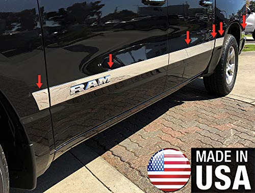 Made in USA! Works with 2019-2020 Dodge Ram 1500 Quad Cab 6.4' Bed 304 Stainless Steel Chrome Rocker Panel Trim Side Molding with RAM Logo Cutout 3.5' Wide 12PC