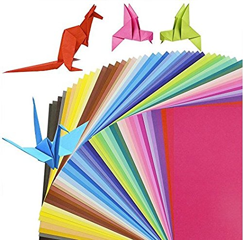 Origami - 100 hojas de papel cuadriculado doble cara de papel plegable para niños artesanías bricolaje decoración del hogar artesanías del partido proyectos