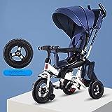 LOXZJYG Triciclo para niños Cochecito de bebé Trolley Baby Trolley Cochecito de Jogger Ligero, Mango de Empuje Ajustable extraíble Adecuado para niños o niñas (Color : Azul)