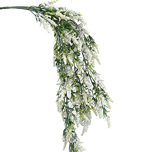 EJY Artificial Lavender Fake Flower Garland Hanging Vine String Plant Greenery for Wall Garden Bathroom Fence Indoors Outside Decor (White)