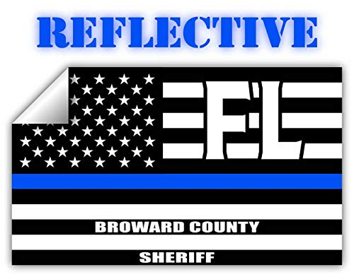"""Reflective Broward County Florida FL Thin Blue Line Stealthy Old Glory USA Flag 