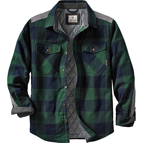 Legendary Whitetails Men's Woodsman Quilted Shirt Jacket Evergreen Plaid Large