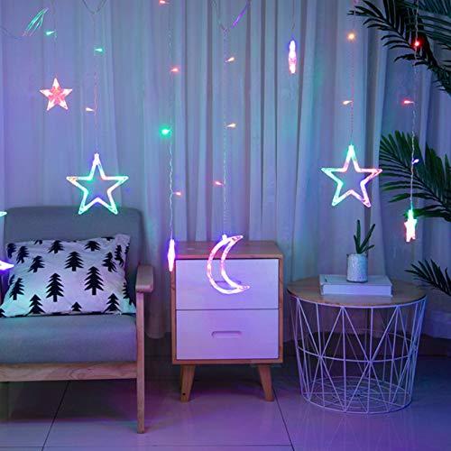 Lichtervorhang Fenster led,Lichterkette,Lichtervorhang Lichter Weihnachtsbeleuchtung,LED Lichterkette,Lichtervorhang Fenster Sterne,LED Sterne Lichterkette,LED Lichtervorhang Lichterkette