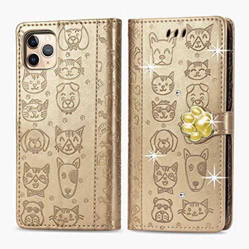 Oihxse - Custodia a portafoglio per iPhone 12 Mini, in pelle PU, con scomparti per carte, funzione di supporto, motivo: gatto e cane, brillante, con brillantini