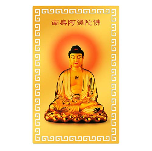 Zzooi Namas Amitabha Amulet Card Chinese Heart Sutra Mantra Lucky Charm for Ward Off Evil Energy