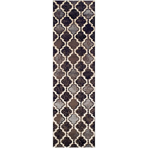 Superior Modern Viking Collection Area Rug, 8mm Pile Height with Jute Backing, Chic Textured Geometric Trellis Pattern, Anti-Static, Water-Repellent Rugs - Chocolate, 2'7' x 8' Runner