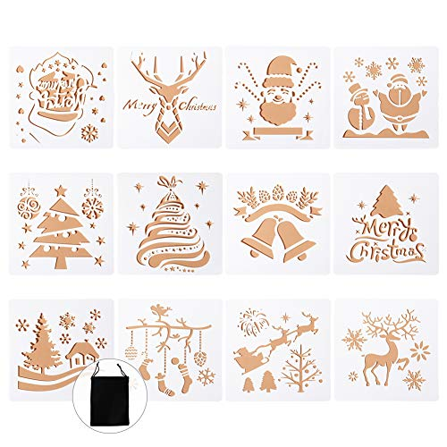 Navidad Plantillas Dibujo Niños, 12 Piezas Stencil Plantillas Plástico Pintura Plantillas para Manualidades, Scrapbooking, Diario,Pintura, Navidad Decoración bricolaje, decoración de 5 x 5 pulgadas
